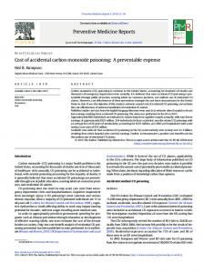 Cost of accidental carbon monoxide poisoning: A ... - Semantic Scholar