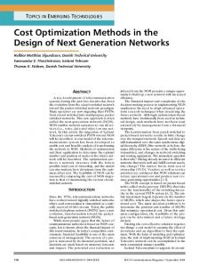 Cost optimization methods in the design of next generation networks ...
