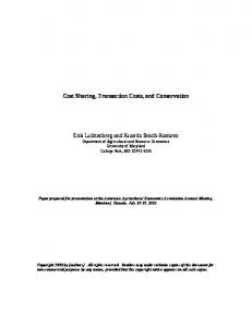 Cost Sharing, Transaction Costs, and Conservation ... - AgEcon Search