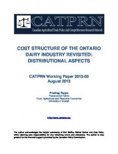 cost structure of the ontario dairy industry revisited - AgEcon Search