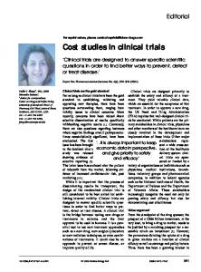 Cost studies in clinical trials