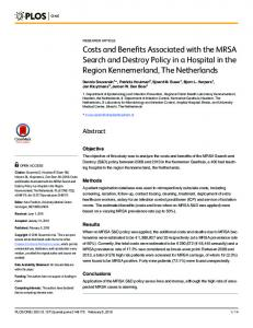 Costs and Benefits Associated with the MRSA Search and ... - PLOS