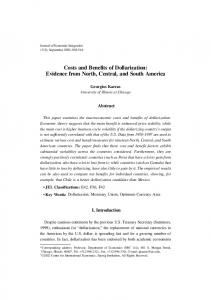 Costs and Benefits of Dollarization: Evidence from North, Central, and ...