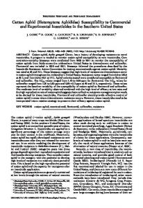 Cotton Aphid (Heteroptera: Aphididae) Susceptibility to ... - BioOne