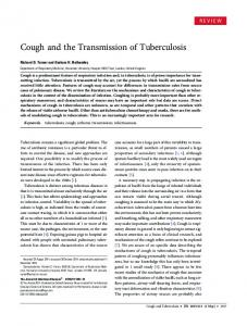 Cough and the Transmission of Tuberculosis - Oxford Journals