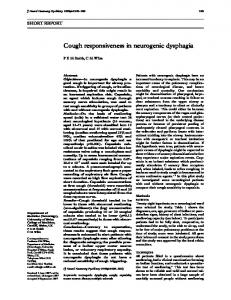 Cough responsiveness in neurogenic dysphagia - NCBI