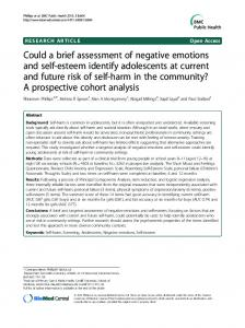 Could a brief assessment of negative emotions and self-esteem ...