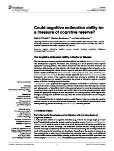 Could cognitive estimation ability be a measure of cognitive ... - Frontiers