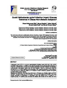 Could Helicobacter pylori Infection Impair Glucose ...