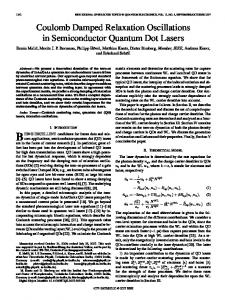Coulomb Damped Relaxation Oscillations in Semiconductor Quantum ...