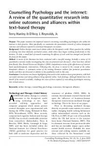 Counselling Psychology and the internet: A ... - Manchester eScholar