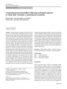 Countering postural posteVects following prolonged exposure to ...