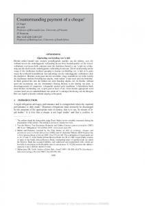 Countermanding payment of a cheque - SSRN