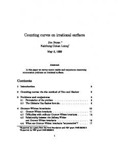 Counting curves on irrational surfaces Jim Bryan ... - UBC Math