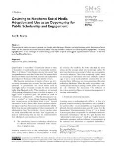 Counting to Nowhere: Social Media Adoption and ... - SAGE Journals