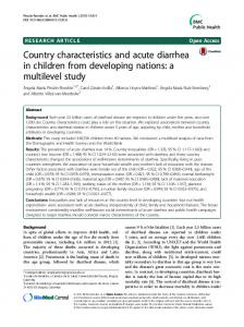 Country characteristics and acute diarrhea in children ... - CiteSeerX