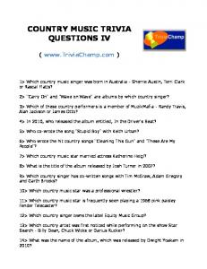 COUNTRY MUSIC TRIVIA QUESTIONS IV - Trivia Champ