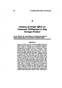 Country of Origin Effect on Consumer Willingness to ...