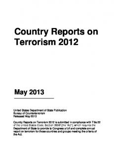 Country Reports on Terrorism 2012 - US Department of State