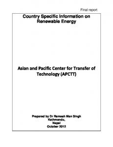 Country Specific Information on Renewable Energy (PDF Download ...