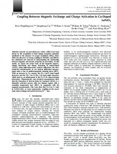 Coupling Between Magnetic Exchange and ... - Wiley Online Library