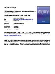 Coupling process study of lipid production and
