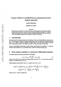 Coupon collector's probabilities and generating function: analytic ...