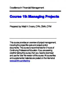 Course 19: Managing Projects
