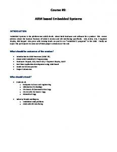 Course #9: ARM based Embedded Systems