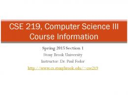 course information - Computer Science Department - Stony Brook ...
