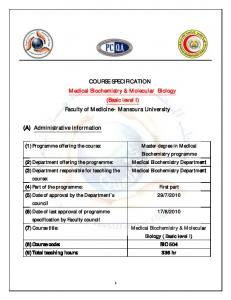 COURSE SPECIFICATION Medical Biochemistry & Molecular ...