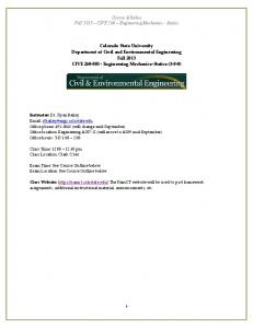 Course Syllabus Fall 2013 - Colorado State University