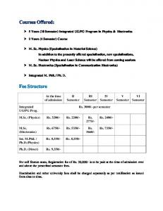 Courses Offered: Fee Structure - Ggu.ac.in