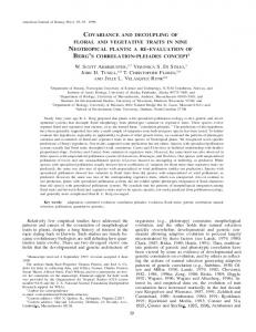 covariance and decoupling of floral and vegetative ... - Semantic Scholar