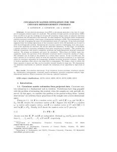 COVARIANCE MATRIX ESTIMATION FOR THE