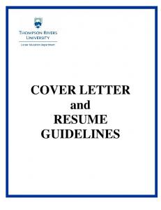 COVER LETTER and RESUME GUIDELINES