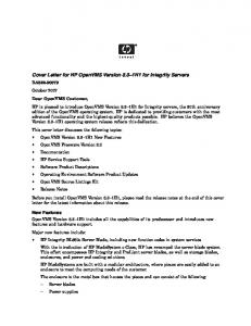 Cover Letter for HP OpenVMS Version 8.3–1H1 for Integrity ...