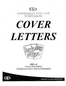 Cover Letters - CCRI Faculty Web - Community College of Rhode ...