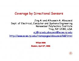 Coverage by Directional Sensors - RPI ECSE - Rensselaer