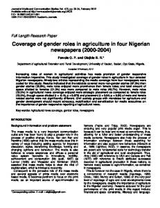 Coverage of gender roles in agriculture in four Nigerian ... - CiteSeerX