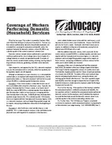 Coverage of Workers Performing Domestic (Household) Services