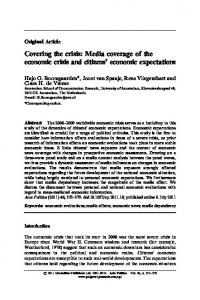 Covering the crisis: Media coverage of the economic crisis and