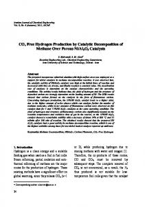COx Free Hydrogen Production by Catalytic Decomposition of