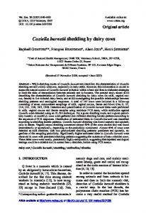 Coxiella burnetii shedding by dairy cows - Veterinary Research, a ...