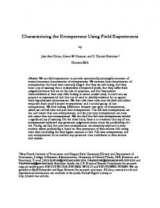 C:\papers\ee\entrepreneur\papers\Characterizing the ... - ITD