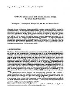 CPW-Fed Stub-Loaded Slot Dipole Antenna Design for Dual-Band ...