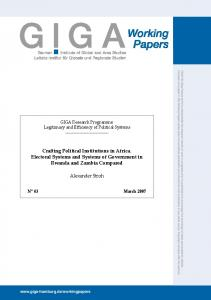 Crafting Political Institutions in Africa. Electoral Systems and ...