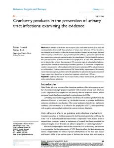 Cranberry products in the prevention of urinary tract ...