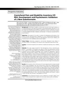 Craniofacial Pain and Disability Inventory (CF- PDI ... - Pain Physician