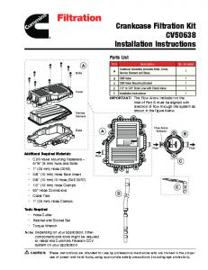 Crankcase Filtration Kit CV50638 Installation Instructions